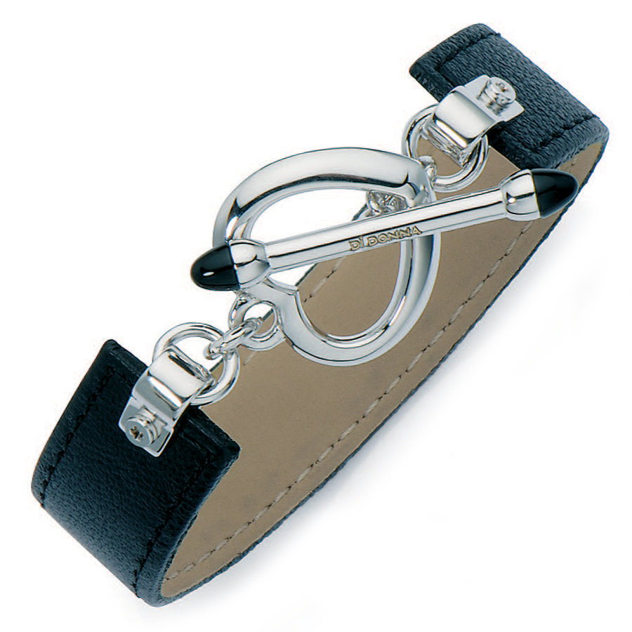 Sterling silver black leatherette bracelet, rhodium plated.