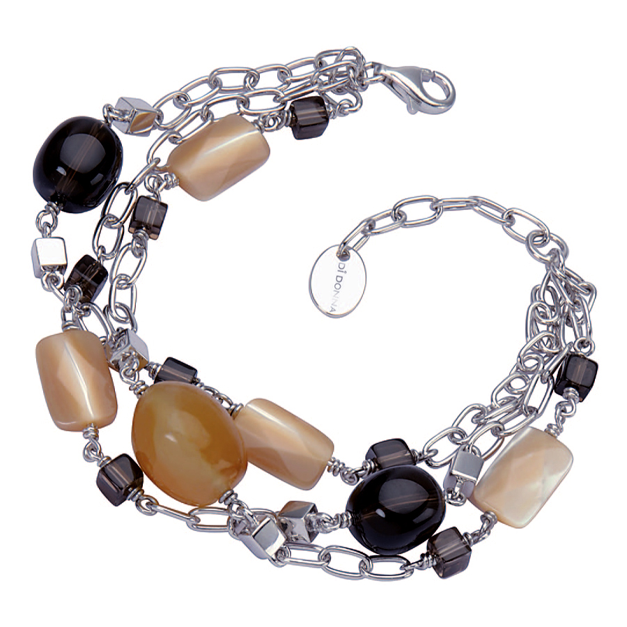 Sterling silver bracelet with yellow Chalcedony and Smokey Topaz, rhodium plated.