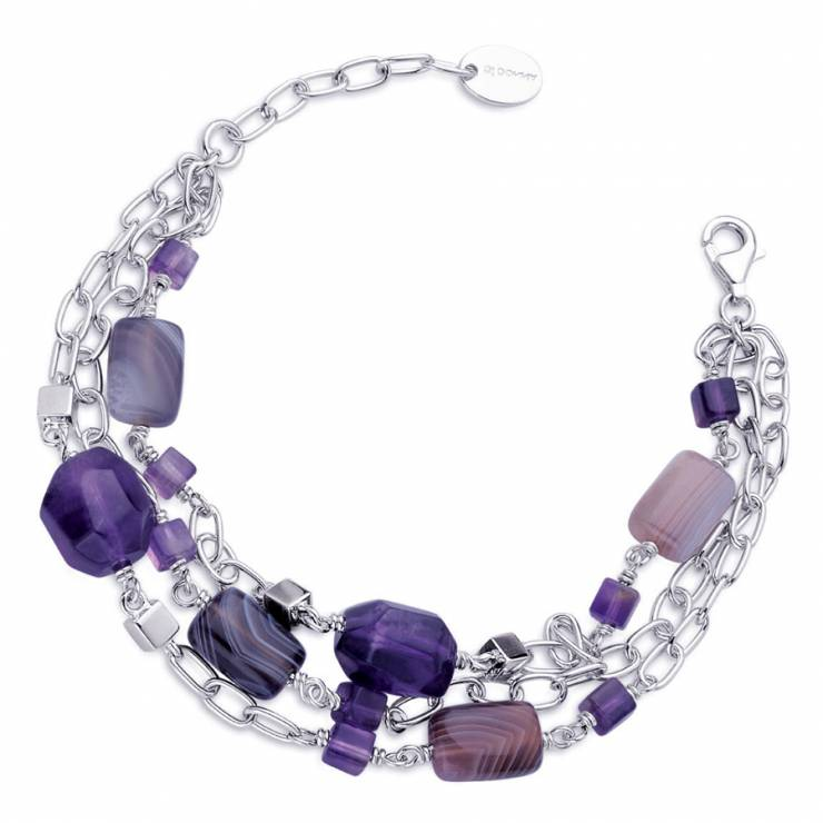 Sterling silver bracelet with Amethyst and gray Agate, rhodium plated.