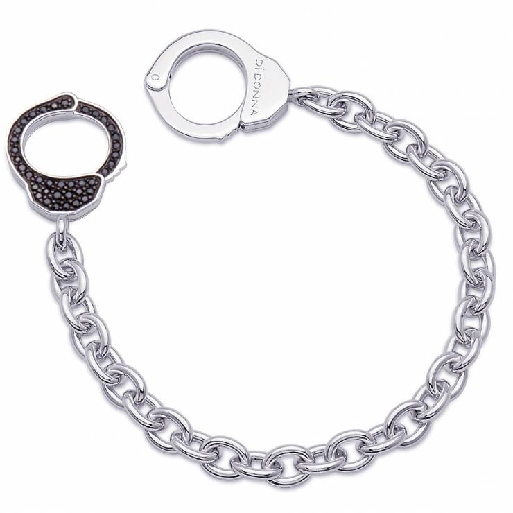Sterling silver bracelet with black CZ, rhodium plated.