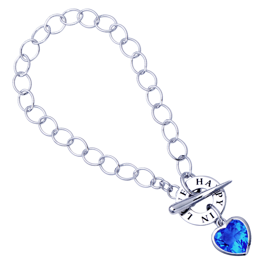 Sterling silver bracelet with blue quartz, rhodium plated.