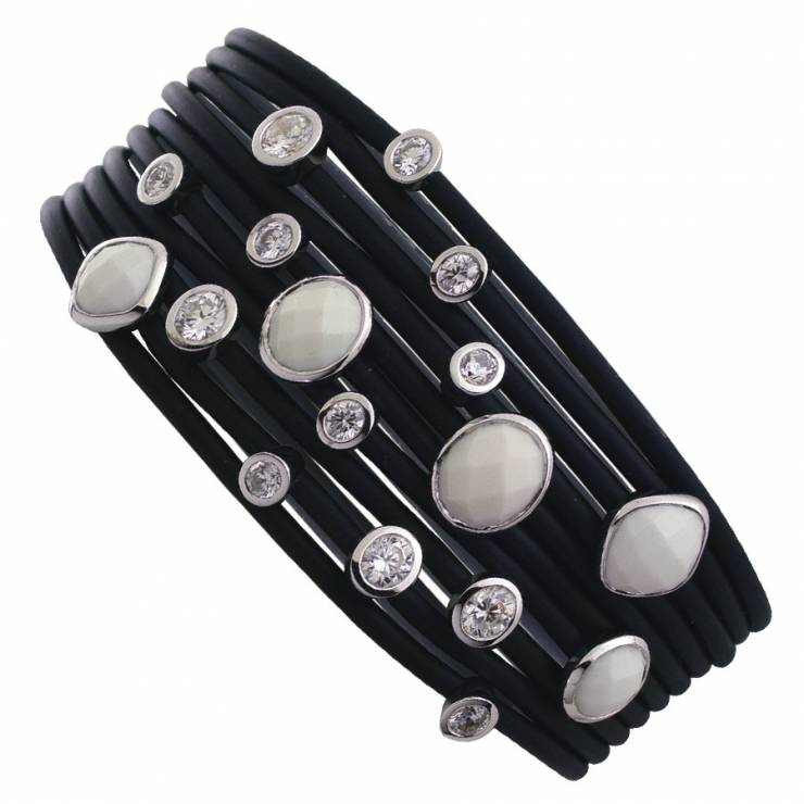 Sterling silver and black rubber bracelet set with CZ and white Agate, rhodium plated.