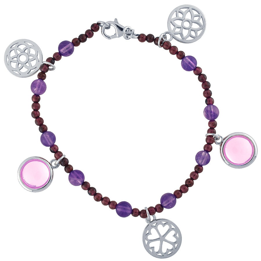 Sterling silver bracelet set with Garnet and Amethyst, rhodium plated.