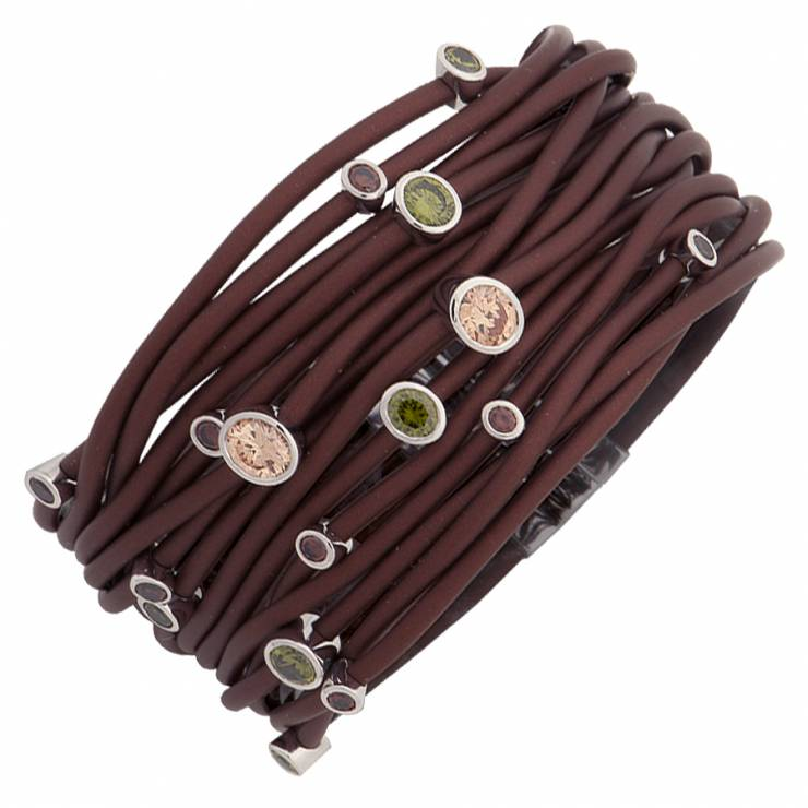 Sterling silver and brown rubber bracelet set with multicolored CZ, rhodium plated.