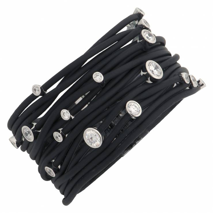 Sterling silver and black rubber bracelet set with CZ, rhodium plated.