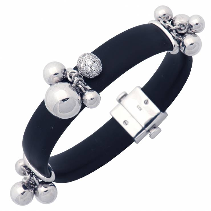 Sterling silver bracelet with black rubber and CZ, rhodium plated.
