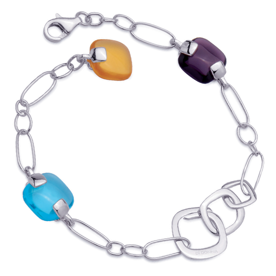 Sterling silver bracelet with multicolour quartz, rhodium plated.
