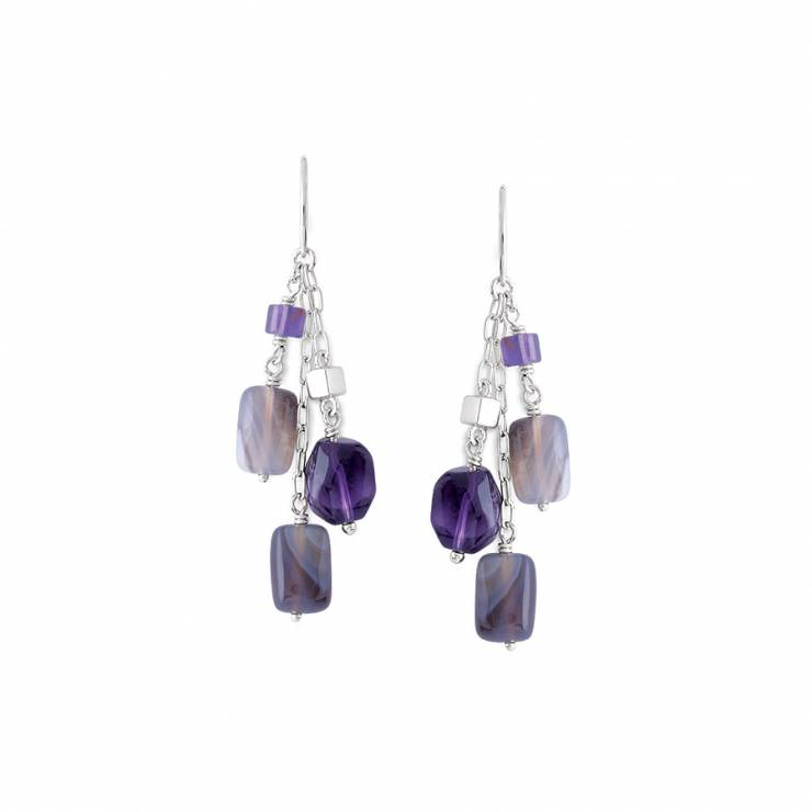 Sterling silver earrings with Amethyst and grey Agate, rhodium plated.