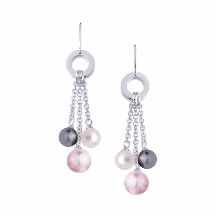 Sterling silver earrings and multicolour shell pearls, rhodium plated.