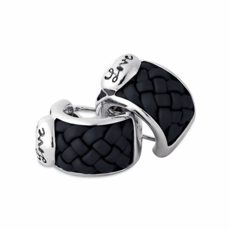 Sterling silver and black rubber earrings set with CZ, rhodium plated.