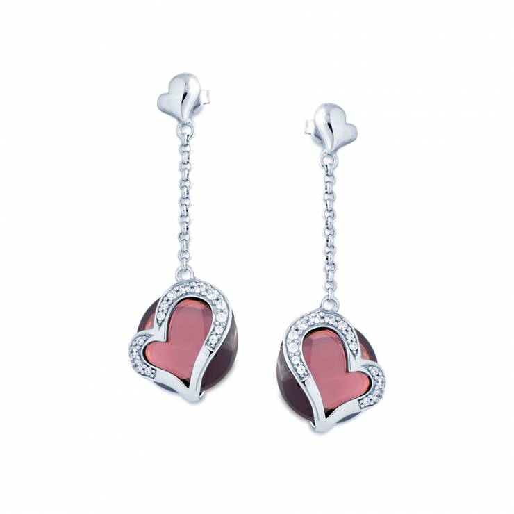 Sterling silver earrings with CZ and Rhodolite quartz, rhodium plated.