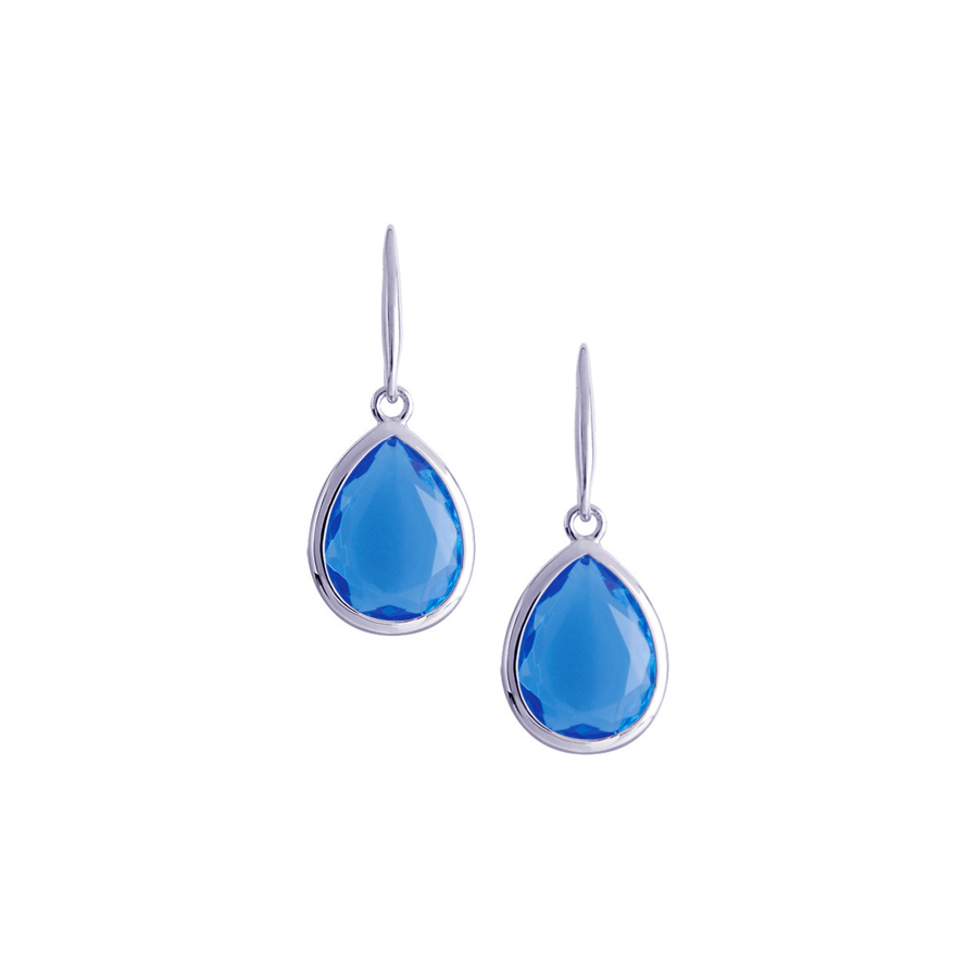 Sterling silver earrings with blue quartz, rhodium plated.