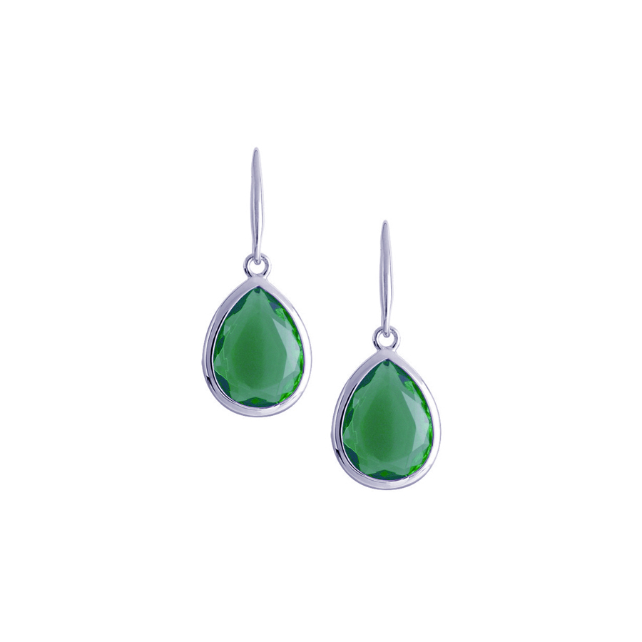 Sterling silver earrings with green quartz, rhodium plated.