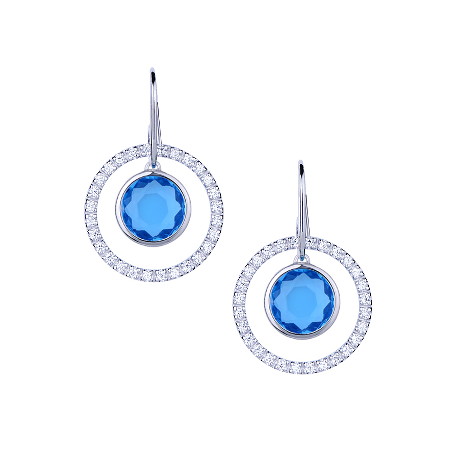 Sterling silver earrings with CZ and blue quartz, rhodium plated.