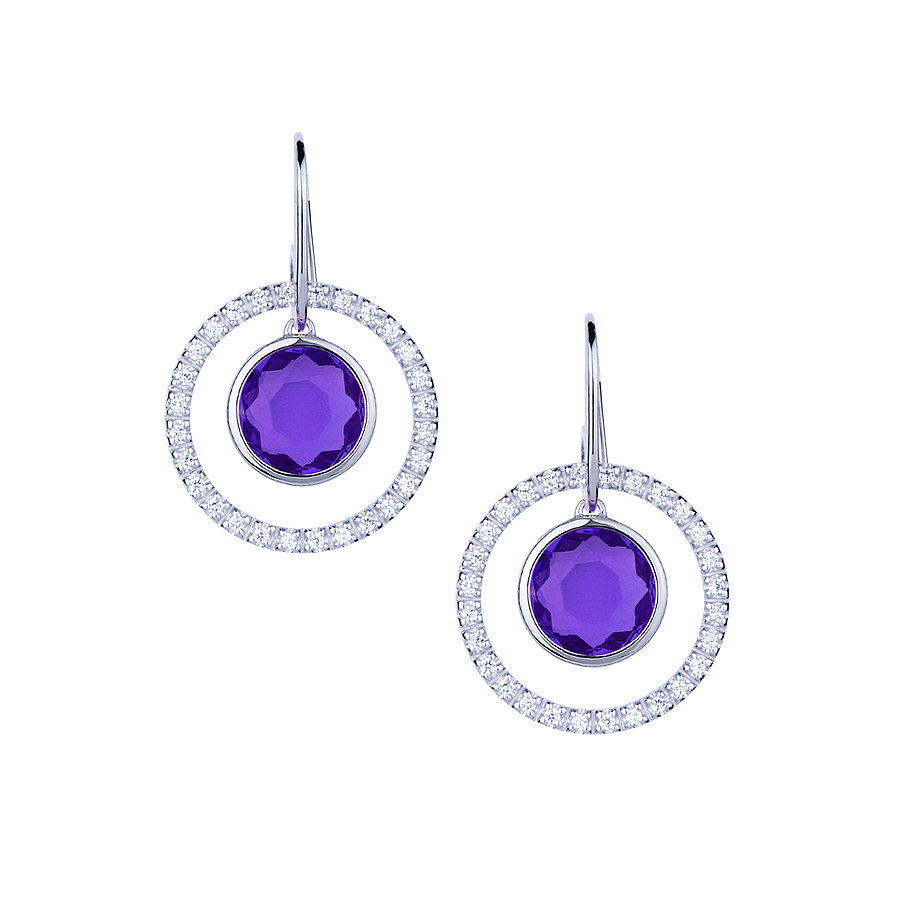 Sterling silver earrings with CZ and purple quartz, rhodium plated.