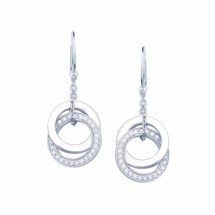 Sterling silver earrings set with CZ, rhodium plated.