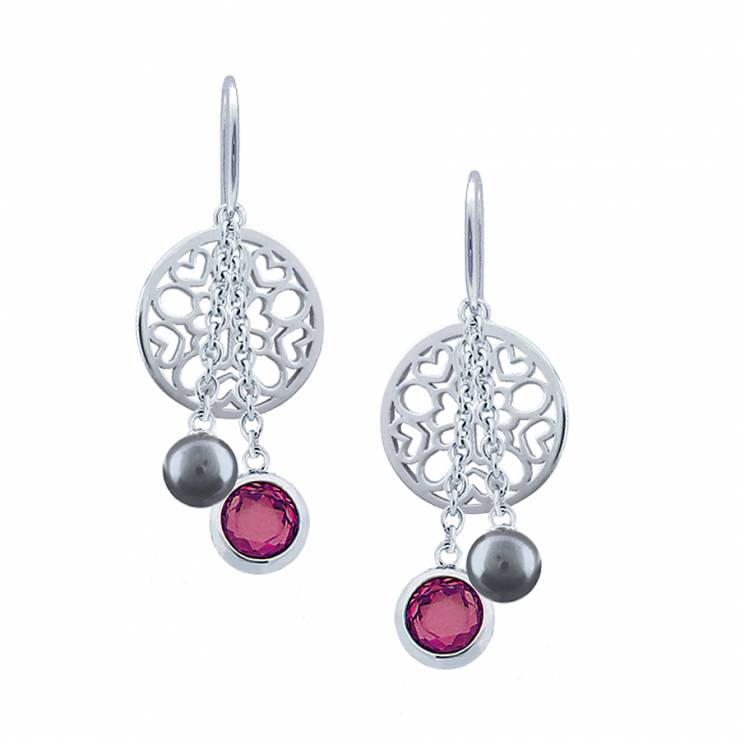 Sterling silver earrings set with Rhodolite quartz and shell pearl, rhodium plated.
