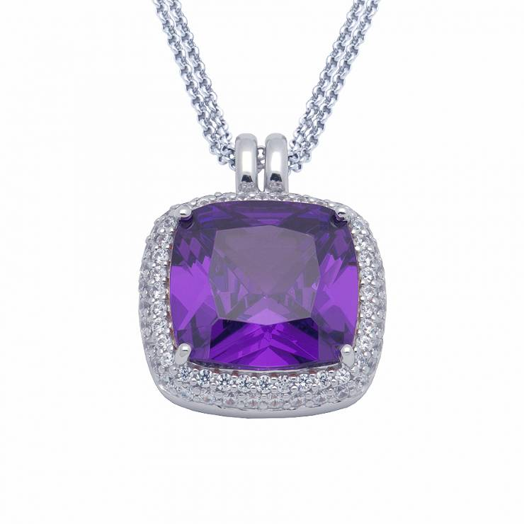 Sterling silver necklace set with Amethyst quartz and CZ, rhodium plated.