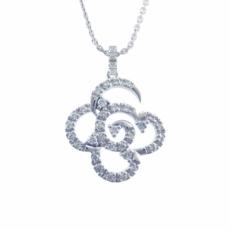 Sterling silver pendant set with CZ, rhodium plated.