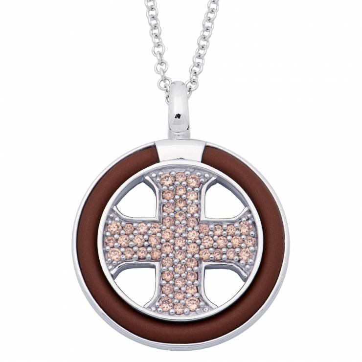 Sterling silver and brown rubber necklace set with Champagne CZ, rhodium plated.