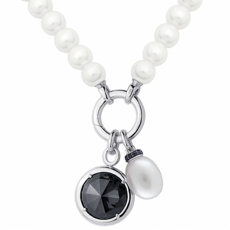 Sterling silver and shell pearl necklace with black CZ, rhodium plated.