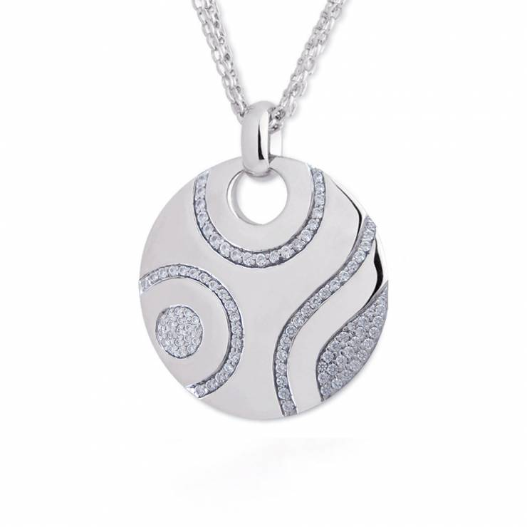 """Sterling silver necklace with CZ, rhodium plated. (Chain 18"""" or 45cm)"""