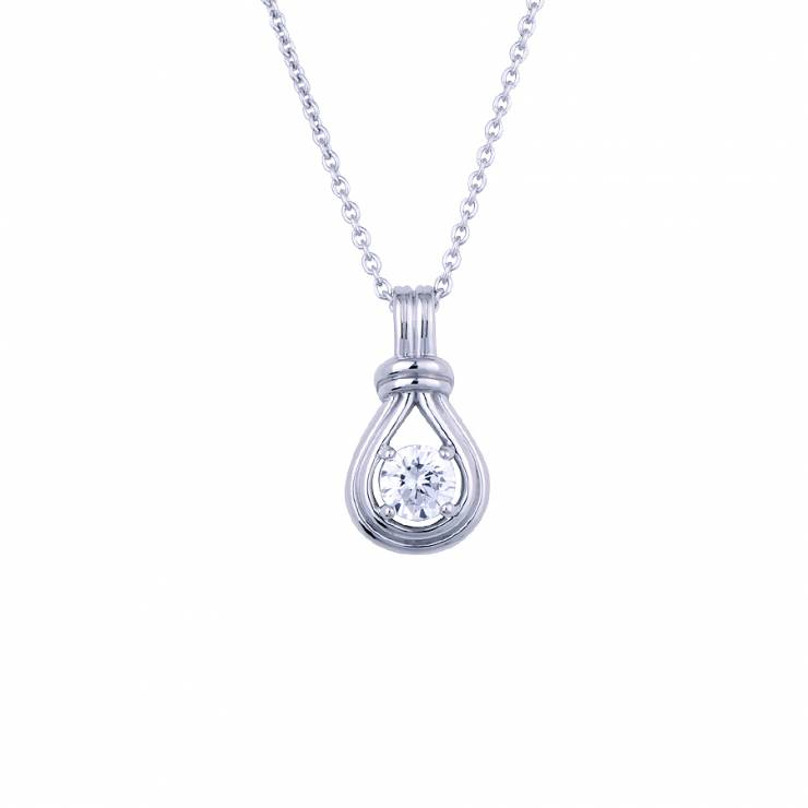 """Sterling silver pendant with CZ, rhodium plated. (Chain 18"""" or 45cm)"""