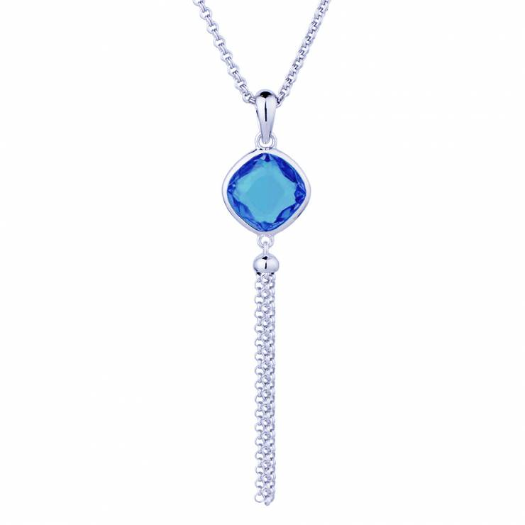 """Sterling silver pendant with blue quartz, rhodium plated. (Chain 18"""" or 45cm)"""