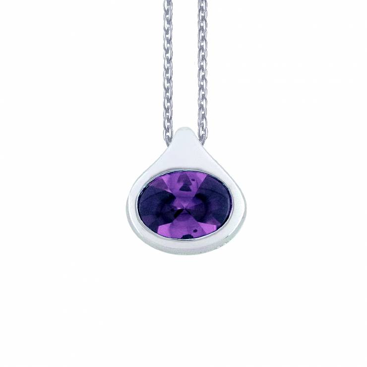 Sterling silver pendant with Amethyst CZ, rhodium plated.