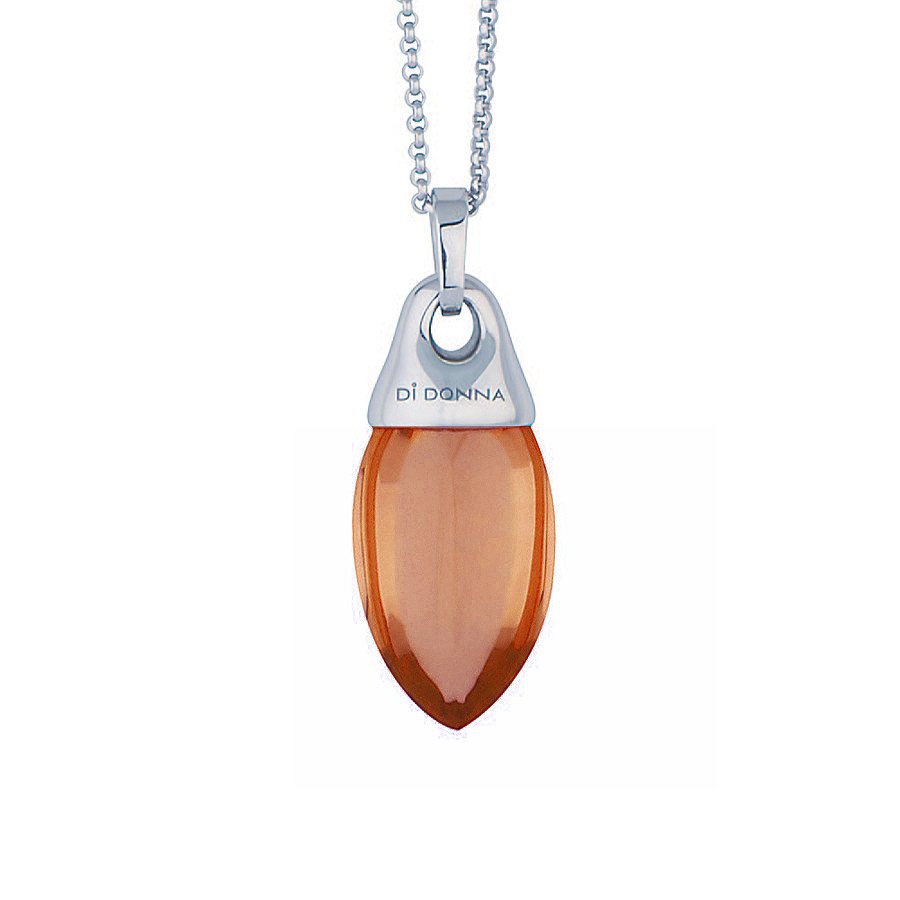 "Sterling silver pendant with yellow quartz, rhodium plated. (Chain 18"" or 45cm)"