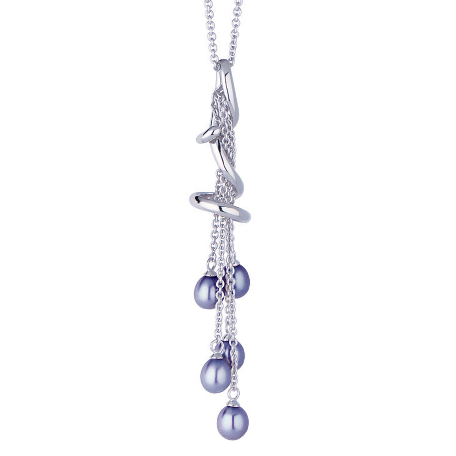 """Sterling silver necklace  with gray shell pearls, rhodium plated. (Chain 18"""" or 45cm)"""