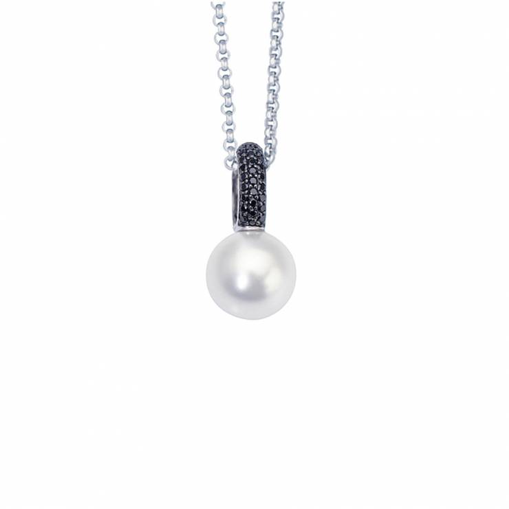 """Sterling silver pendant with black CZ, white shell pearl, rhodium plated. (Chain 18"""" or 45cm)"""