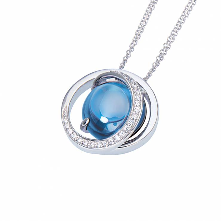 """Sterling silver pendant with blue Topaz quartz and CZ, rhodium plated. (Chain 18"""" or 45cm)"""