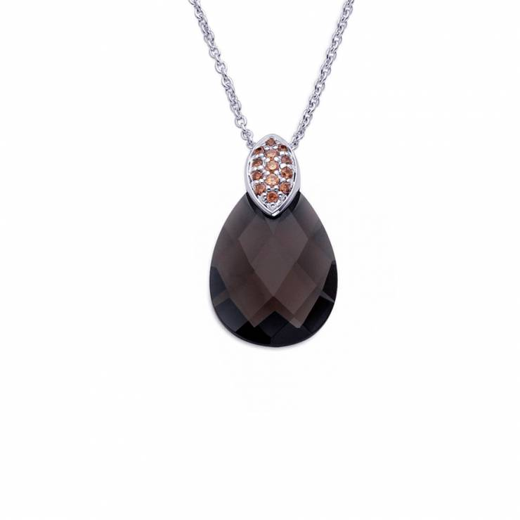 """Sterling silver pendant with Champagne CZ and Smokey quartz, rhodium plated. (Chain 18"""" or 45cm)"""