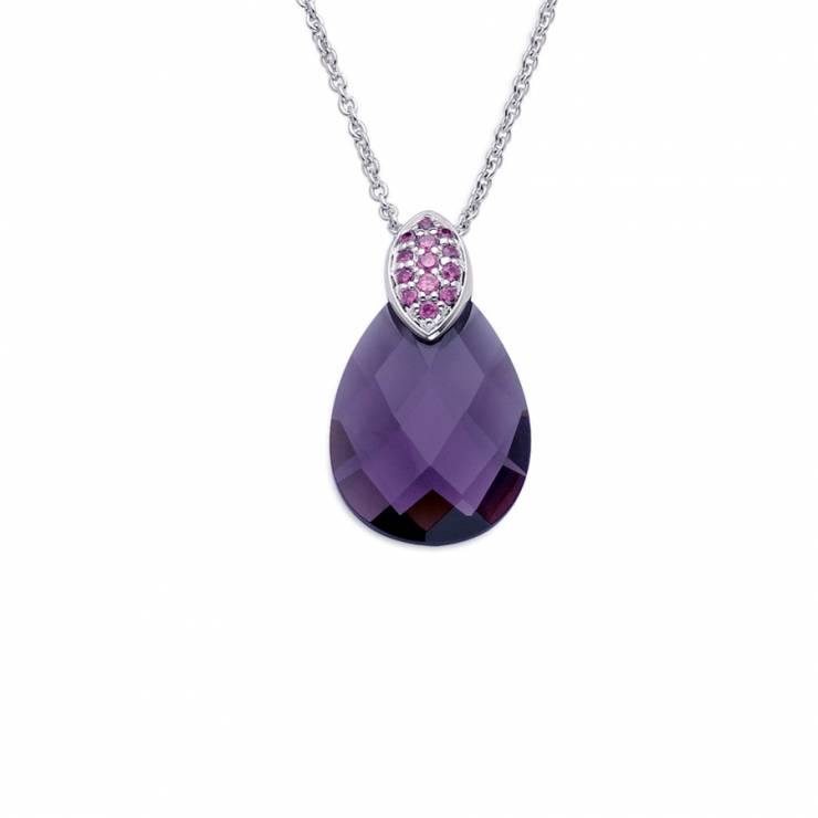 """Sterling silver pendant with pink CZ and purple quartz, rhodium plated. (Chain 18"""" or 45cm)"""