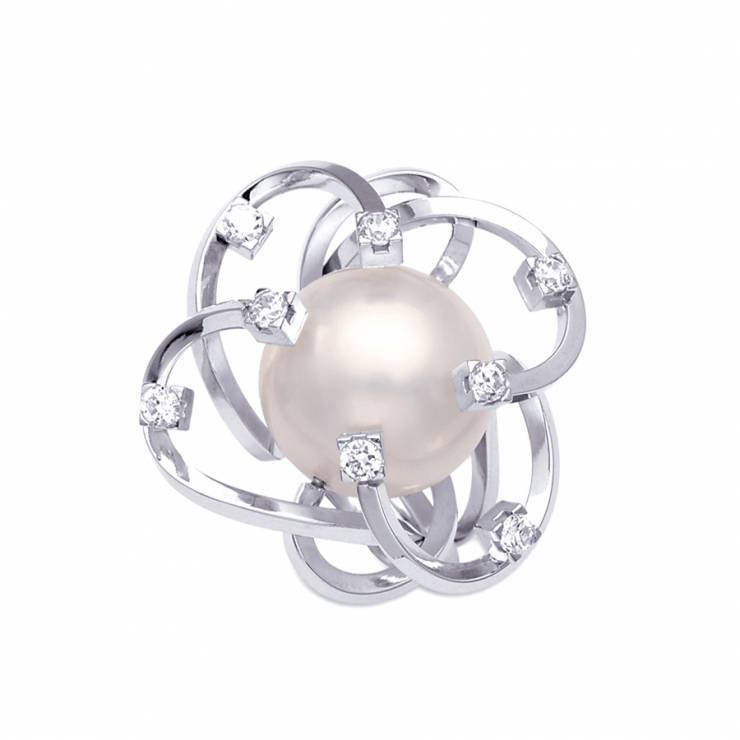 Sterling silver ring  with CZ, white shell pearl, rhodium plated.