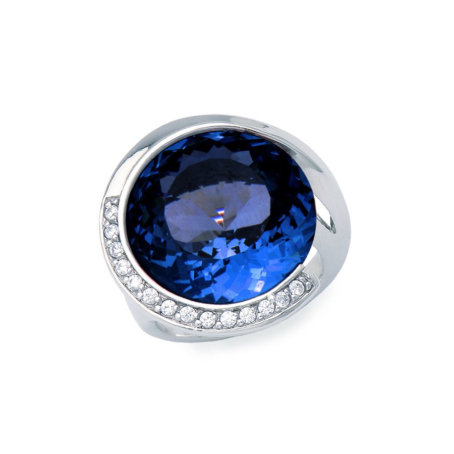Sterling silver ring  with blue quartz and clear CZ, rhodium plated.