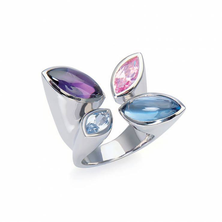 Sterling silver ring with multicolour CZ, rhodium plated.