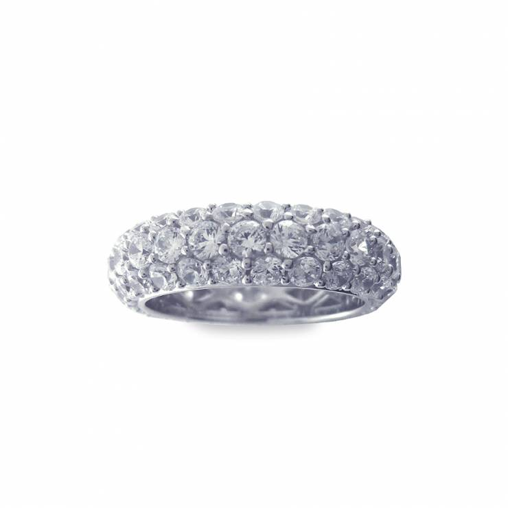 Sterling silver ring set with CZ, rhodium plated.