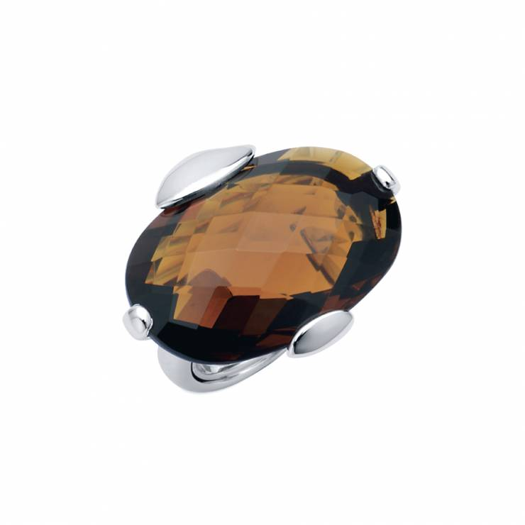 Sterling silver ring  with Citrine, rhodium plated.