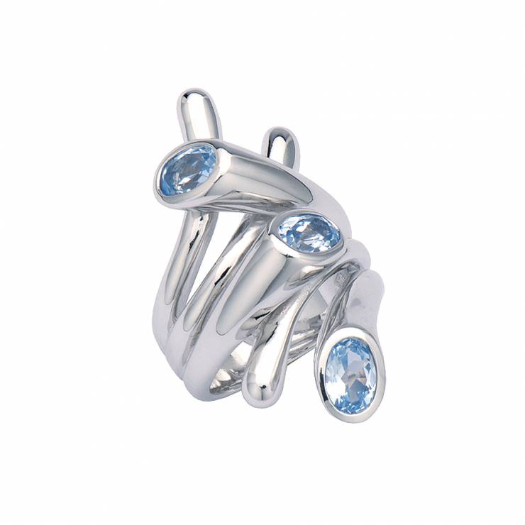 Sterling silver ring with blue CZ, rhodium plated.