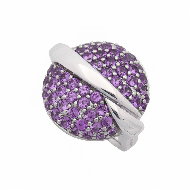 Sterling silver ring with purple CZ, rhodium plated.
