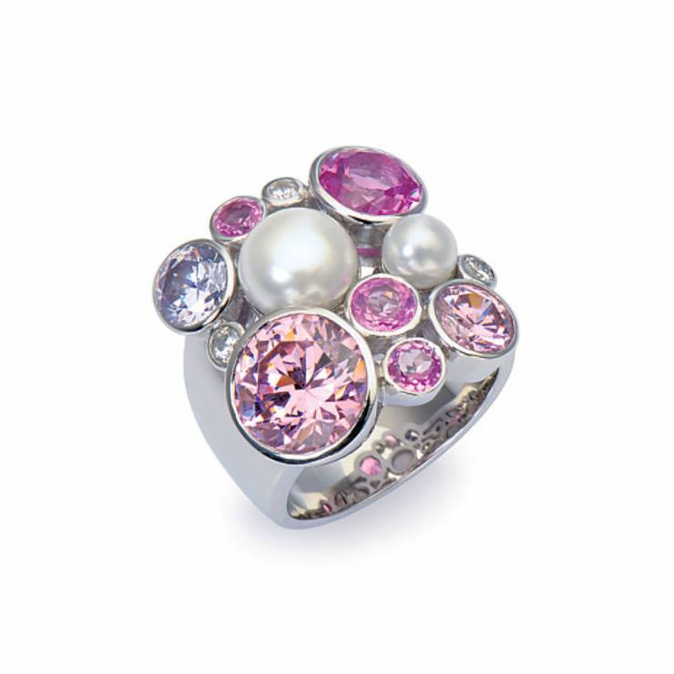 Sterling silver ring with multicolour Swarovski crystals and shell pearls, rhodium plated.