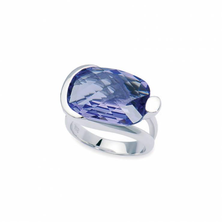 Sterling silver ring with faceted Swarovski Tanzanite crystal, rhodium plated.