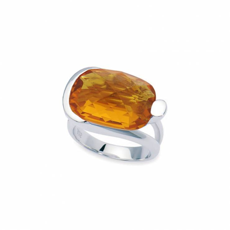 Sterling silver ring with faceted Swarovski Citrine crystal, rhodium plated.