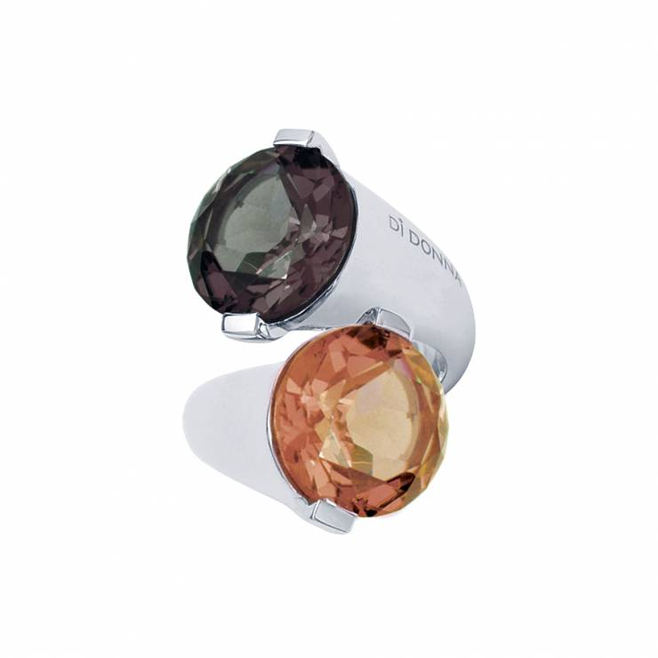Sterling silver ring with multicolour Swarovski crystals, rhodium plated.
