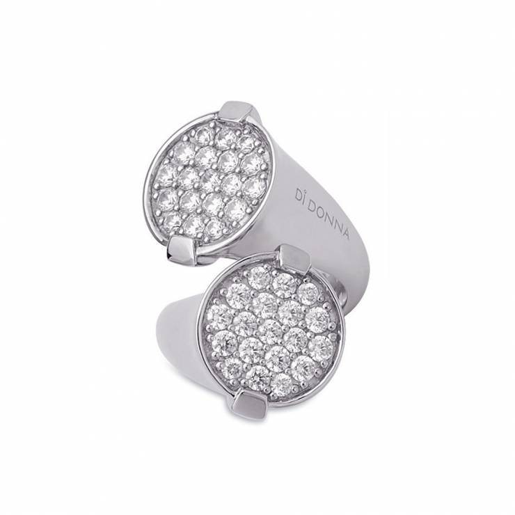 Sterling silver ring with CZ, rhodium plated.