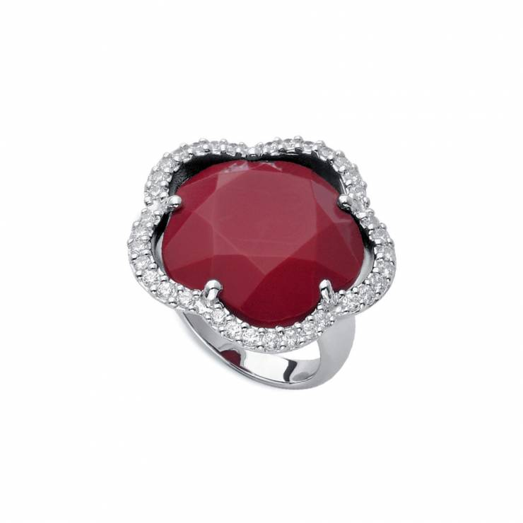 Sterling silver ring  with CZ and reconstructed Coral, rhodium plated.