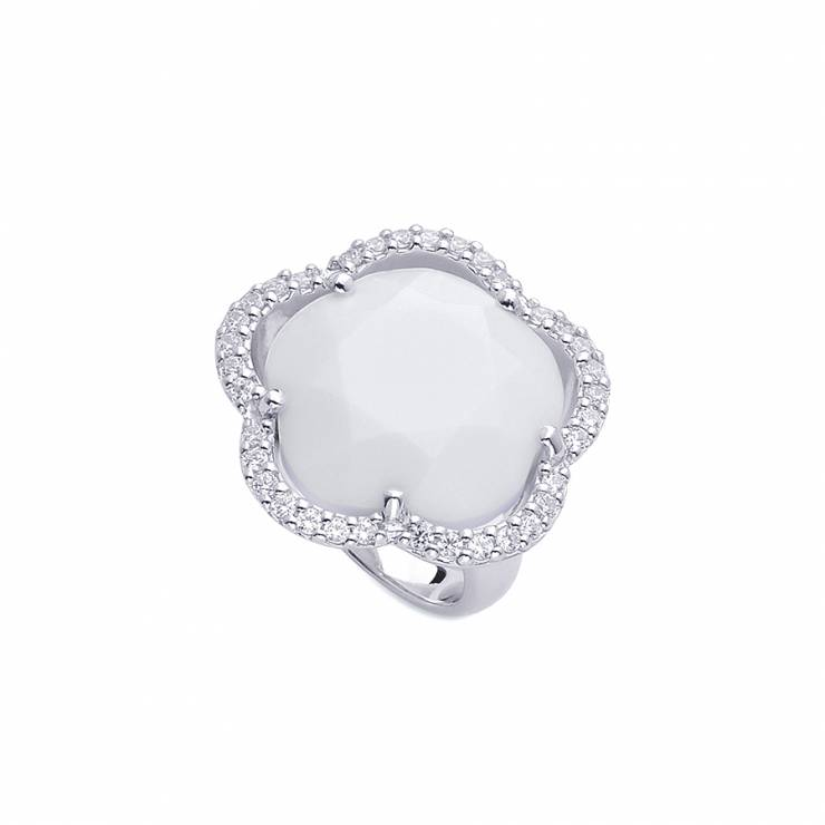 Sterling silver ring  with CZ and white Agate, rhodium plated.