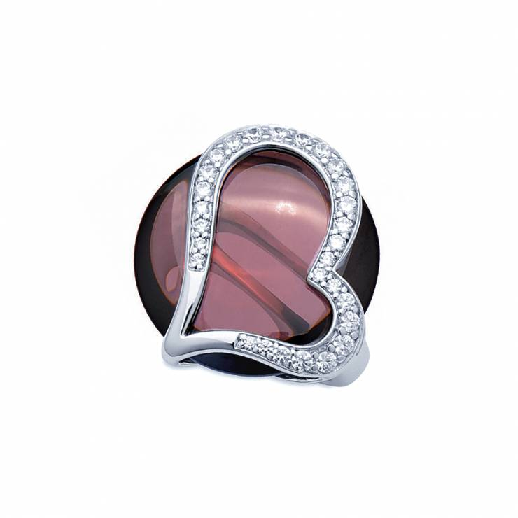 Sterling silver ring with Rhodolite quartz and CZ, rhodium plated.